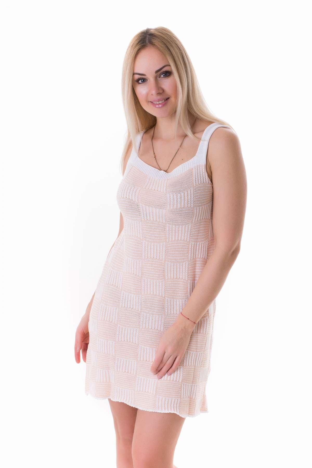 3670a8163163011 Платье-сарафан вязаный Мишель хлопок Персиковый оптом и в розницу