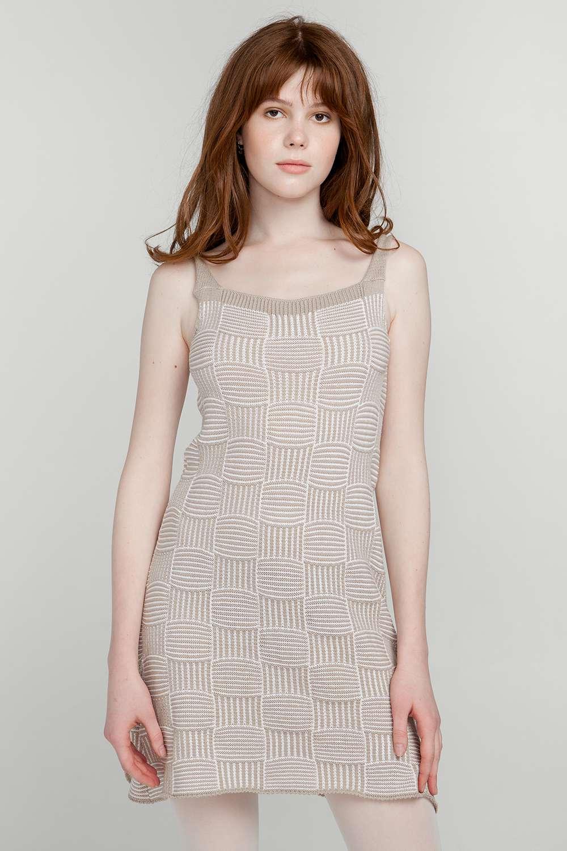 b3d75e439ab18a7 Платье-сарафан вязаный Мишель хлопок Бежевый оптом и в розницу