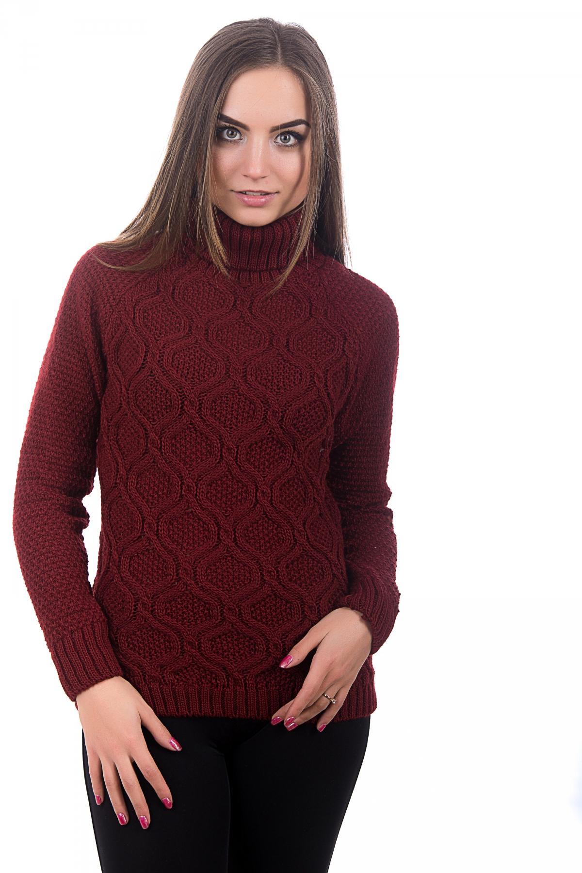 вязаный женский свитер алина цвет бордовый все размеры разные цвета
