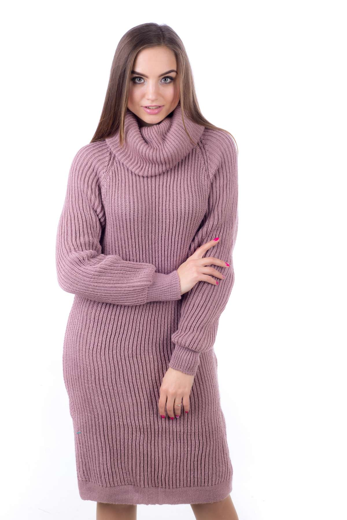 bf924e87348 Теплое вязаное платье-свитер Ласка