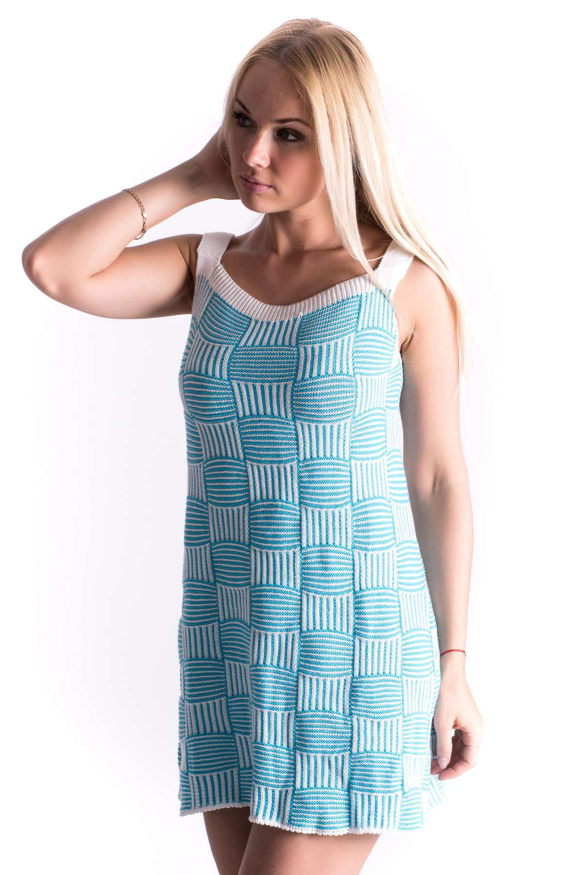 8f10cfb33ff477b Платье-сарафан вязаный Мишель хлопок Бирюзовый оптом и в розницу